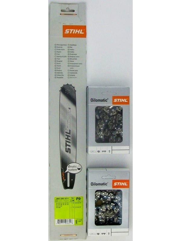 STIHL 30030005211 Führungsschiene Rollomatic  1,6mm, 3/8'+2 xStihl 36520000056 Halbmeisselketten