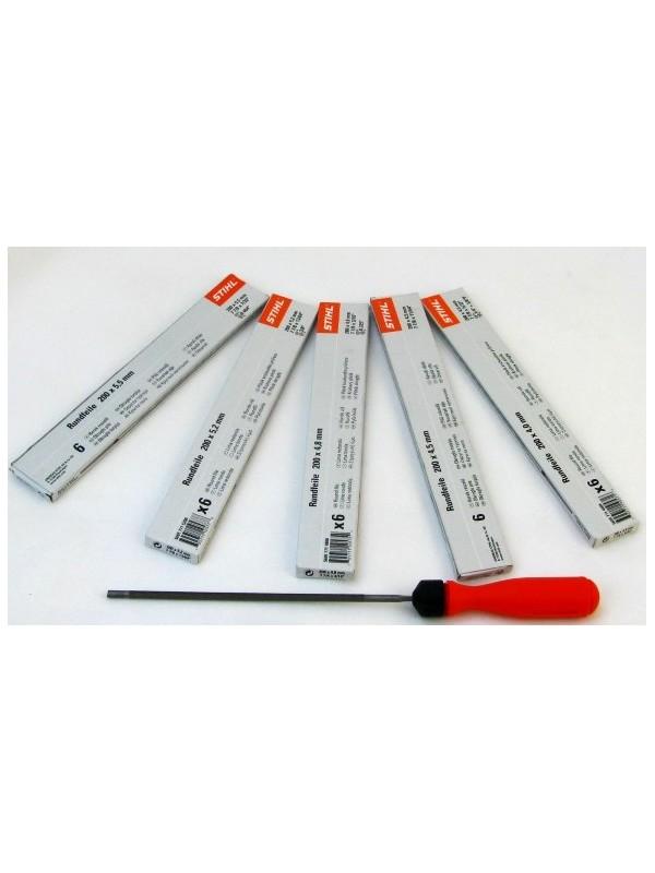 STIHL 56057714006 Rundfeile 6 Stück für Sägeketten 4,0 mm mit 1 Kunststoff Feilenhalter