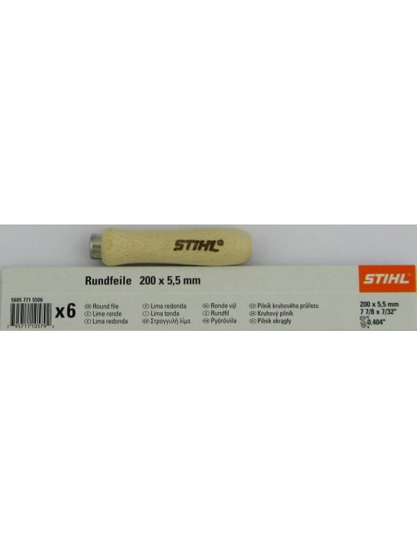 STIHL 56057715506 Rundfeile 6 Stück für Sägeketten 5,5 mm für .404' mit 1 Holz Feilenhalter