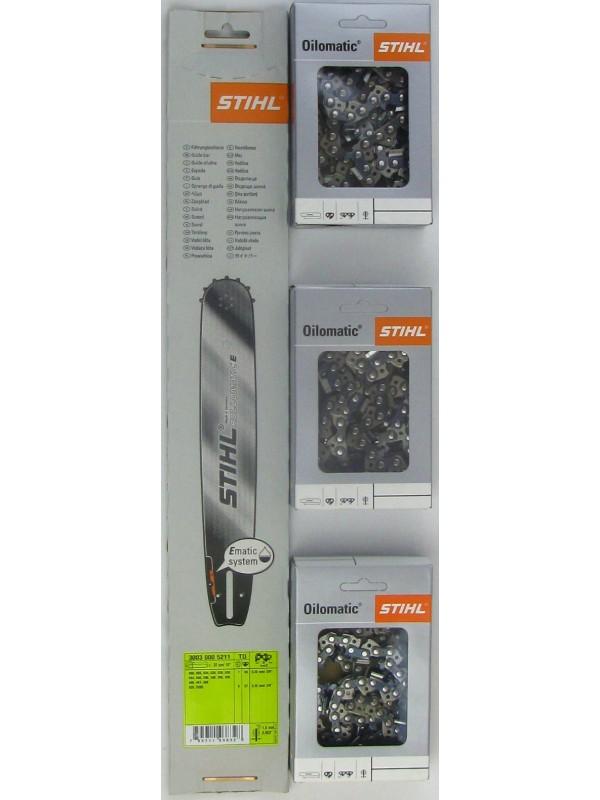 STIHL 30030005211 Führungsschiene 37cm, 1,6mm, 3/8'+3xStihl 36520000056 Halbmeisselketten