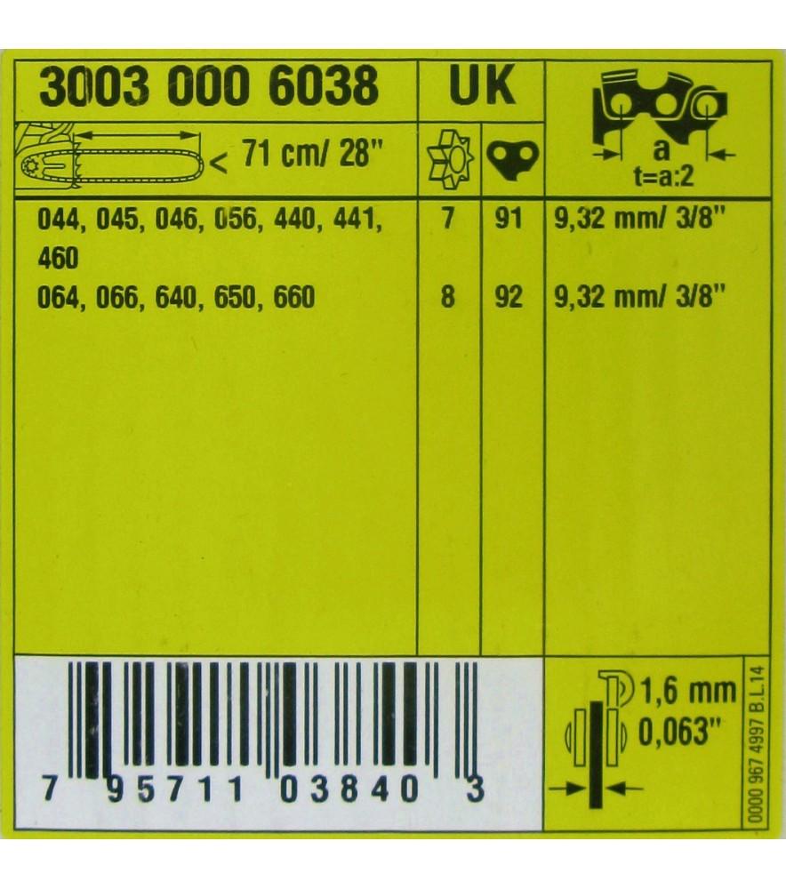 Stihl 30030006038  Rollomatic ES, Sägekette 3/8', 1,6 mm, 71 cm 3003 000 6038