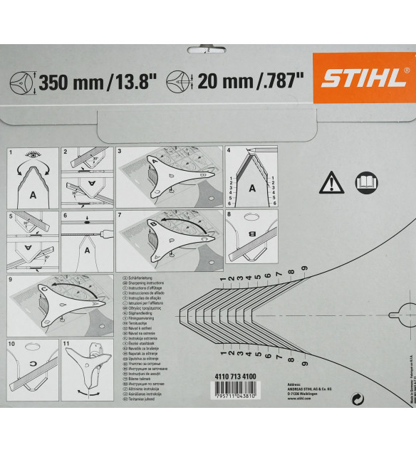 Stihl original 41107134100 Dickichtmesser 3 Flügel 350mm