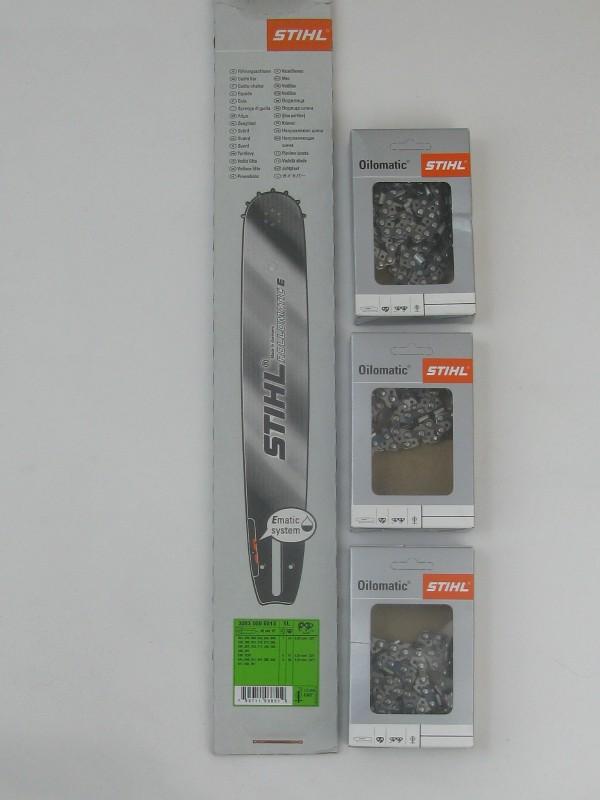 Stihl 30030006813 Führungsschiene 40cm 0,325' 1,6mm mit 3xStihl original Halbmeisselkette 40 cm 325' 1,6 mm 67 Glieder