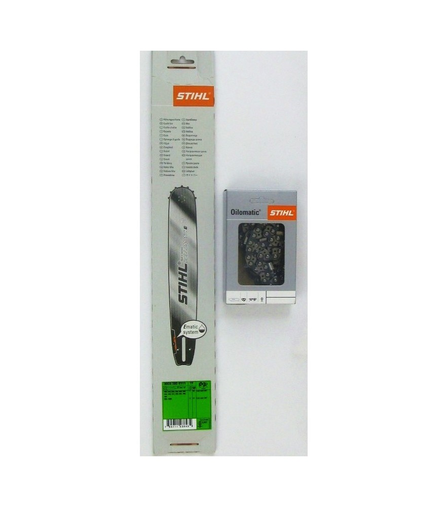 Stihl 30030006313 Führungsschiene 40cm 1,3mm RollomaticE 3/8P' 9Z+Stihl 36170000060 Sägekette 40cm 3/8'P / 1,3 / 60 TG