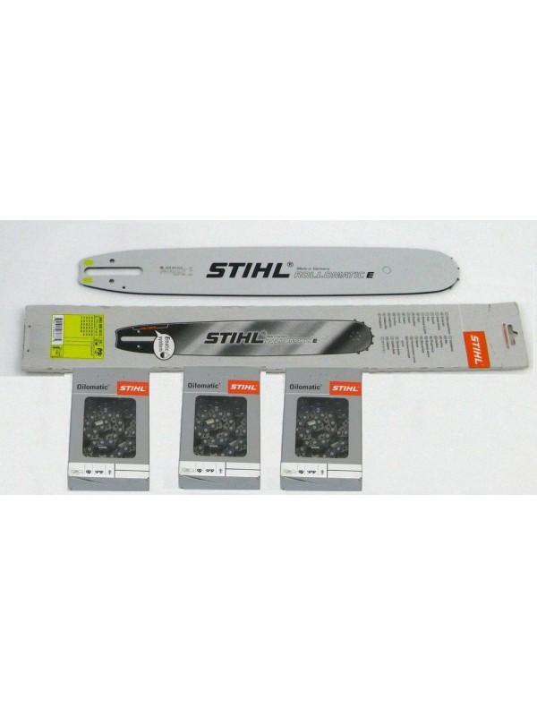 Stihl 30030005213 Führungsschiene Rollomatic E 40cm 3/8' 1,6mm +3 Stück Stihl Halbmeißelketten