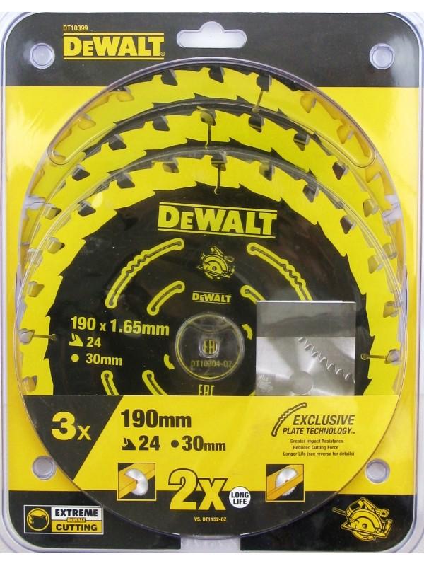 DeWalt DT10399 Extreme 3er Pack 190 x 1,65 mm Kreissägen Sägeblatt Makita