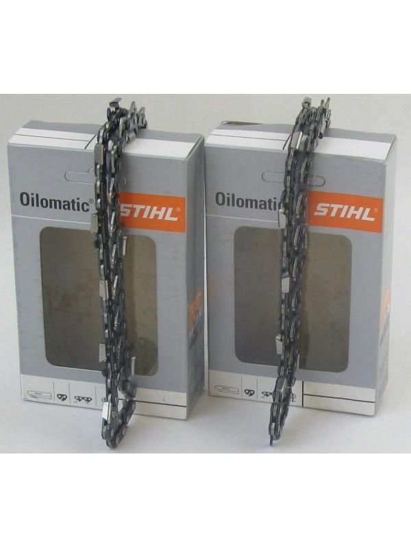 2x STIHL 36100000050 Oilomatic Sägekette Picco Micro Mini 3 (PMM3) Halbmeißel 3/8'P 1,1mm 35 cm 36100000050